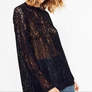 Zara navy blue lace top